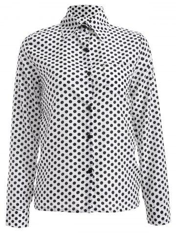Outfits Long Sleeve Shirt Collar Polka Dot Chiffon Shirt