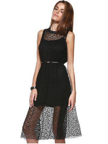 Cheap Loose-Fitting Openwork Scoop Neck A-line Dress and Spaghetti Strap Tank Top Set For Women - ONE SIZE(FIT SIZE XS TO M) BLACK Mobile