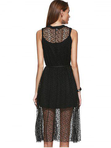 Chic Loose-Fitting Openwork Scoop Neck A-line Dress and Spaghetti Strap Tank Top Set For Women - ONE SIZE(FIT SIZE XS TO M) BLACK Mobile