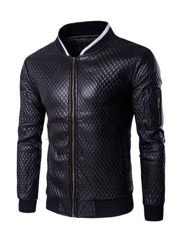 Unique Multi-Pocket Argyle Pattern Stand Collar Long Sleeves PU Leather Jacket For Men - M BLACK Mobile