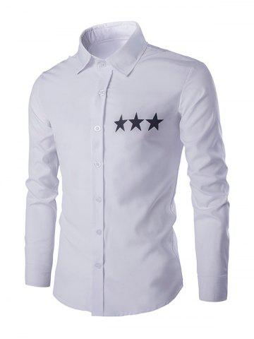 Chic Star Pattern Solid Color Shirt Collar Long Sleeves Shirt For Men WHITE XL