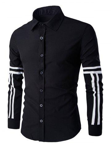 Simple Shirt Collar Stripes Pattern Long Sleeves Shirt For Men - Black - Xl