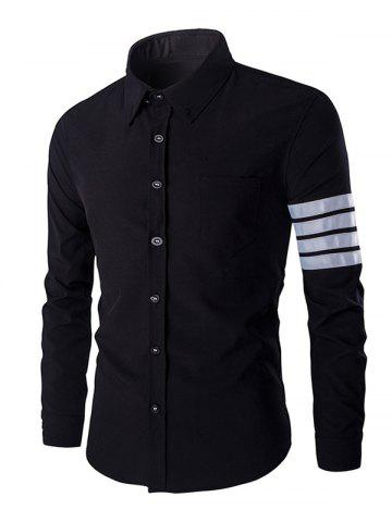Online One Pocket Striped Braid Design Shirt Collar Long Sleeves Shirt For Men