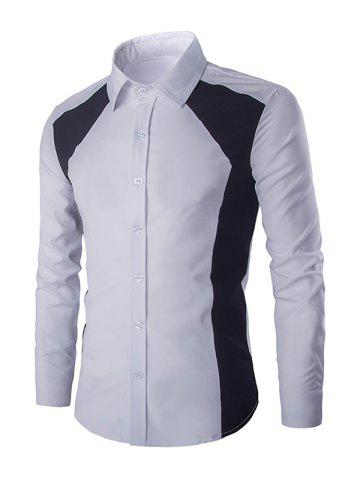 Fashion Turn-down Collar Long Sleeves Color Block Shirt For Men WHITE L