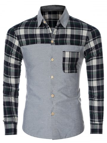 Chic Plaid Splicing Breasted Pocket Long Sleeve Shirt For Men GREEN 2XL