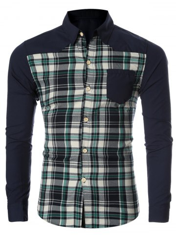 Trendy Checked Spliced Breasted Pocket Long Sleeve Shirt For Men