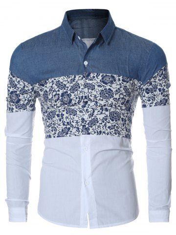 Buy Floral Print Chambray Spliced Long Sleeve Shirt For Men