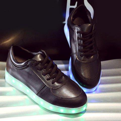 Hot Fashionable Tie Up and Lights Up Led Luminous Design Athletic Shoes For Women - 39 BLACK Mobile