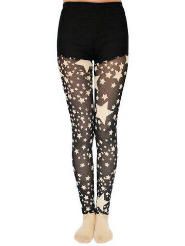 Star Pattern Lace Splicing Leggings - Black - One Size