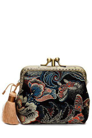 Online Butterfly Pattern Brocade Kiss Lock Coin Purse BLACK
