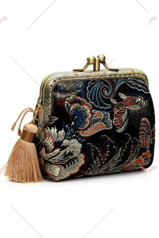Latest Butterfly Pattern Brocade Kiss Lock Coin Purse - BLACK  Mobile