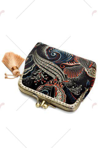 Affordable Butterfly Pattern Brocade Kiss Lock Coin Purse - BLACK  Mobile
