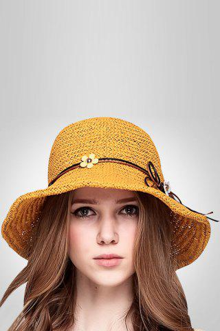 Online Flower Lace Up Embellished Straw Hat GINGER