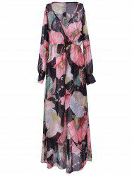 Bohemian Plunging Neck Maxi Floral Dress - BLACK