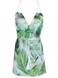 Tropical Halter Neck Leaf Romper For Women - GREEN