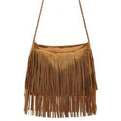 Stylish Weaving and Fringe Design Women's Crossbody Bag - CAMEL