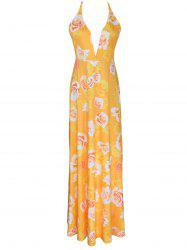 Sleeveless Floral Print Deep V Neck Maxi Slip Dress