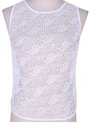 Chic Women's White Crochet Open Work Tank Top