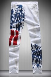 Zipper Fly Star and Stripe Print Narrow Feet Pencil Pants For Men
