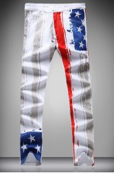 Zipper Fly Star and Vertical Stripe Print Narrow Feet Pencil Pants For Men - WHITE