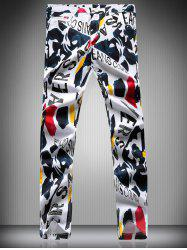 Zipper Fly Color Block Letter Scrawl Print Narrow Feet Pencil Pants For Men -
