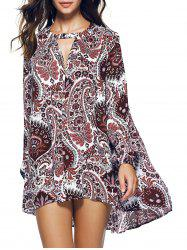 Paisley Long Sleeve Asymmetric Bohemian Dress