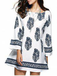 Bohemian Ethnic Floral Print Loose Mini Dress - WHITE