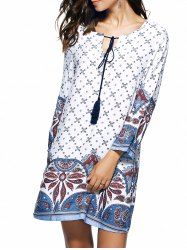 Bohemian Ethnic Floral Print Oversized Mini Dress