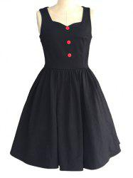 Retro Sweetheart Neck Pure Color Button Ruched Skater Dress -