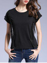 Black Short Sleeve Fringed T-Shirt -