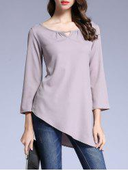 Pure Color Asymétrique T-shirt - Gris