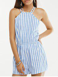 Open Back Sleeveless Striped High Neck Pants Romper - STRIPE