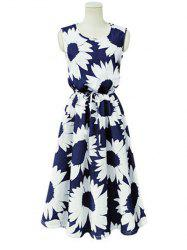 Sweet Floral Print Strappy Dress -