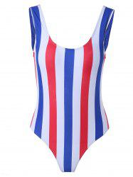 Alluring Striped Color Block One-Piece Swimsuit -