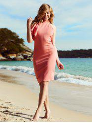 Alluring Ruffled One-Shoulder Knee Length Club Dress - PINKBEIGE