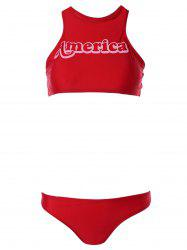 Alluring High Neck Letter Print Red Racer Bikini Set -