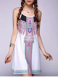 Casual Spaghetti Strap Printed Backless Dress For Women -