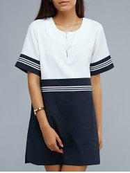 Hit Color Short Sleeve Loose Dress