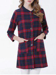 Chic Buttoned Pocket Design Plaid Women's Coat - RED
