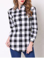 Stylish Shirt Collar Button Design Plaid Women's Shirt