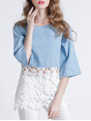 Sweet 3/4 Sleeve Lace Splicing Hollow Out Women's Blouse -
