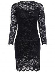 Lace Tight Homecoming Dress with Sleeves - BLACK