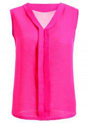 V-Neck Solid Color Women's Chiffon Tank Top