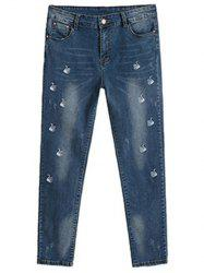 Plus Size Chic Swan Embroidered Pencil Jeans