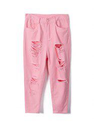 Plus Size Sweet Pure Color Ripped Jeans -