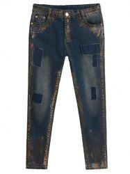 Plus Size Appliqued Spray Painting Jeans -