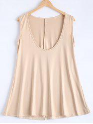 Simple Deep Scoop Neck Sleeveless Pure Color Stretchy Loose Dress
