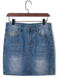 Plus Size Brief Embroidered Distressed Skirt -