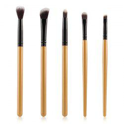 Stylish 5 Pcs Eyeshadow Nylon Eye Makeup Brushes Set - GOLDEN