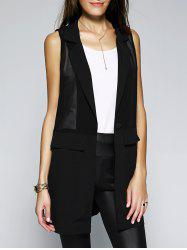 Stylish Women's Turn-Down Collar Button Spliced See-Through Solid Color Waistcoat -